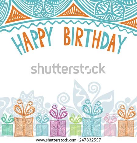 Happy birthday greeting card illustration - stock photo