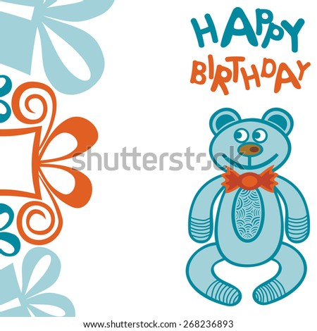 Happy birthday greeting card with bear and gifts illustration - stock photo
