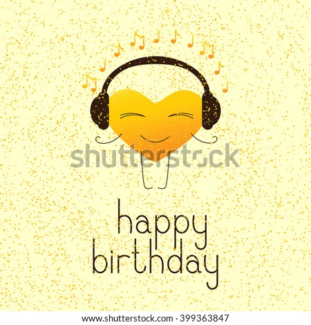 Happy birthday greeting card with golden colored cartoon heart character in headphones and lettering Happy birthday in English on yellow background and golden dotes - stock photo