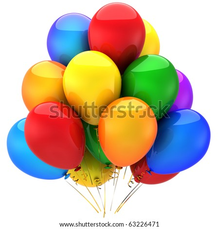 Happy Birthday helium balloons party decoration multicolor. Anniversary graduation holiday celebration greeting card concept. Positive good abstract. Detailed 3d render. Isolated on white background - stock photo