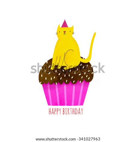 happy birthday illustration with cupcake and cat in funny hat cute yellow cat on top of a. Black Bedroom Furniture Sets. Home Design Ideas