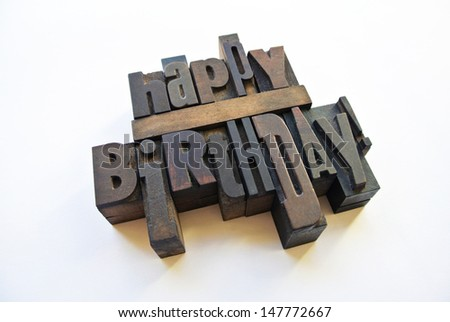 Happy birthday message with wood typography - stock photo