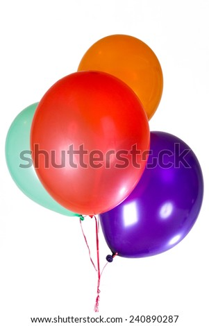 Happy Birthday party balloons decoration colorful multicolor. New Year Christmas greeting card. Seven anniversary retirement graduation concept Isolated on white background - stock photo