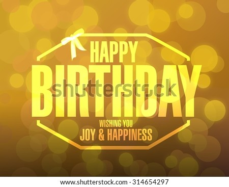 happy birthday stamp bokeh background illustration design graphic - stock photo