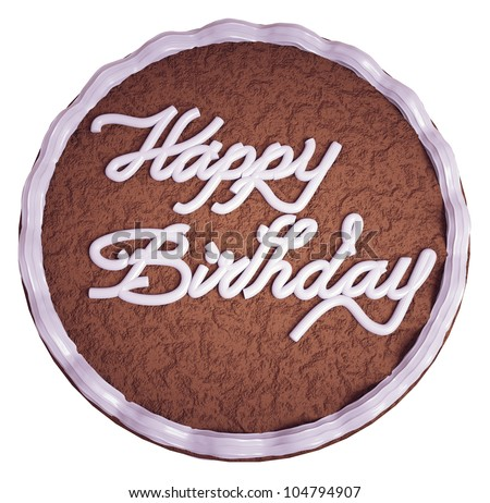 Happy birthday: top view of cake with greeting words isolated on white - stock photo
