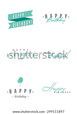 Happy Birthday Vintage Hipster Illustration Template - stock photo