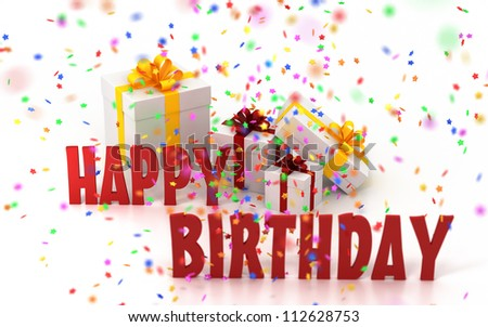 Happy Birthday with Confetti and gift box - stock photo