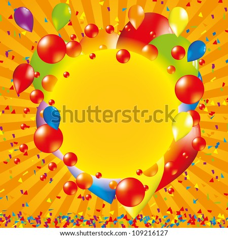 Happy bithday background with balloon - stock photo