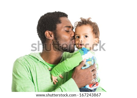Happy black father and  baby boy cuddling on isolated white Use it for a child, parenting or love concept - stock photo