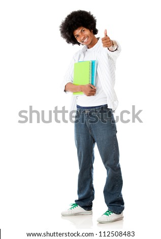Happy black student with thumbs up - isolated over a white background - stock photo