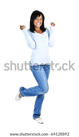 Happy black woman celebrating isolated on white background - stock photo