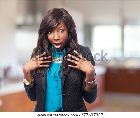 happy black-woman pointing herself - stock photo