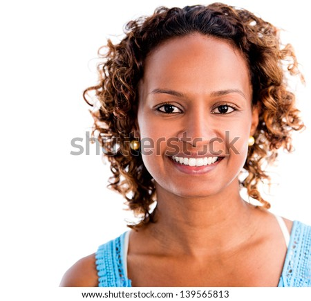 Happy black woman smiling - isolated over a white background - stock photo
