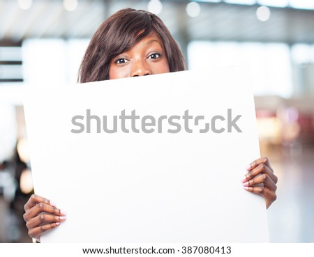 happy black-woman with banner - stock photo