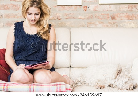 Happy blonde sitting on her sofa using tablet at home in the living room - stock photo