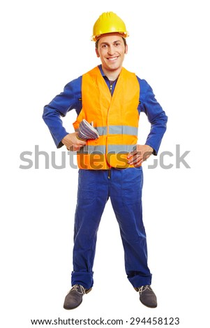 Happy blue collar worker with hardhat and safety vest - stock photo