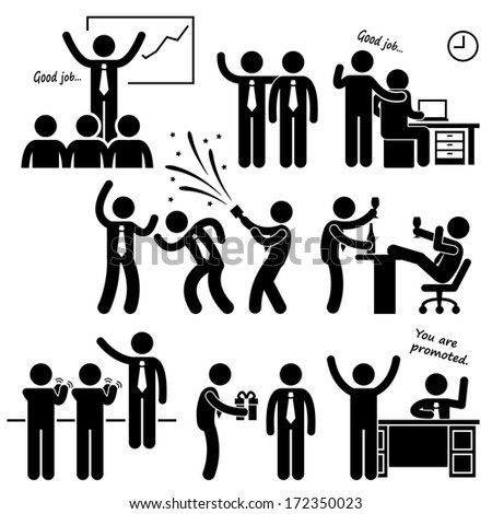 Happy Boss Rewarding Employee Stick Figure Pictogram Icon - stock photo