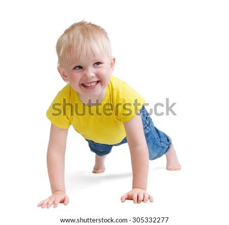 Happy boy child - stock photo