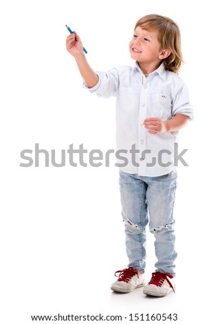 Happy boy coloring with a blue color pencil - isolated over white - stock photo