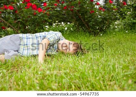 Happy boy enjoy on the meadow - stock photo