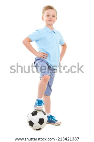 Happy Boy in suit with backpack ready back to school - stock photo