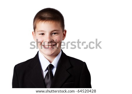Happy boy, isolated on white - stock photo
