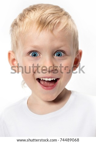 happy boy portrait on white background - stock photo