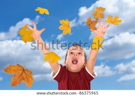 Happy boy shouting and reaching out for the falling autumn leaves -  without motion blur - stock photo
