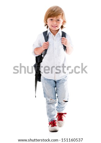 Happy boy walking to school - isolated over a white background  - stock photo