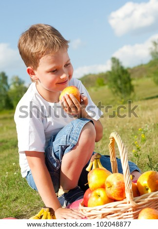 happy boy with apples resting outdoor - stock photo