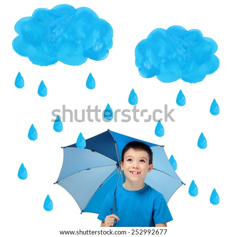Happy boy with blue umbrella and painted rain looking up, isolated on white background - stock photo