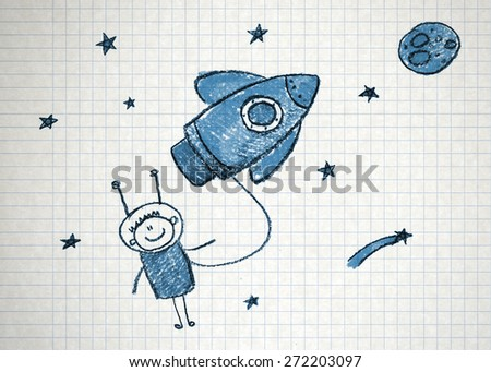Happy boy with rocket. Colorful summer picture. Kids drawing - stock photo