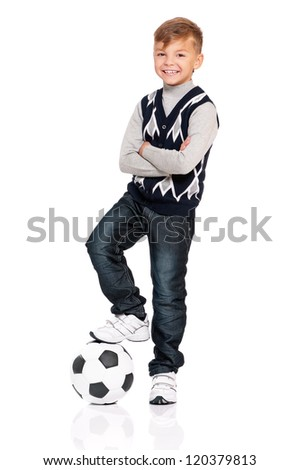 Happy boy with soccer ball isolated on white background - stock photo