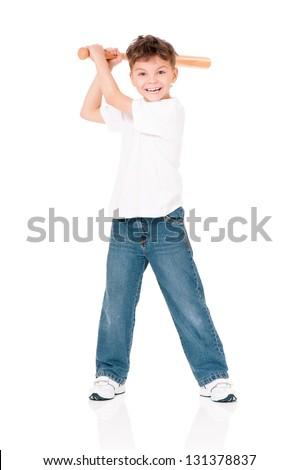 Happy boy with wooden baseball bat isolated on white background - stock photo