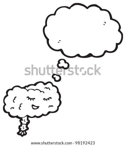 happy brain cartoon - stock photo