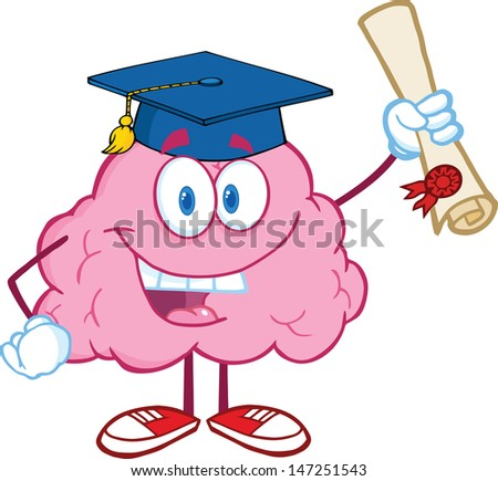 Happy Brain Character Graduate Holding up A Diploma. Vector version also available in gallery - stock photo