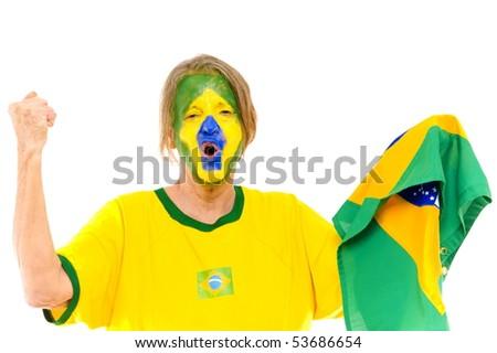 Happy Brazilian sport fan scream a score - stock photo