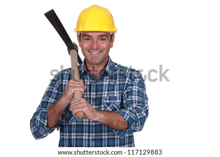 happy bricklayer holding pickaxe isolated on white - stock photo