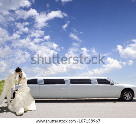 Happy bride and groom about limousine in wedding day - stock photo