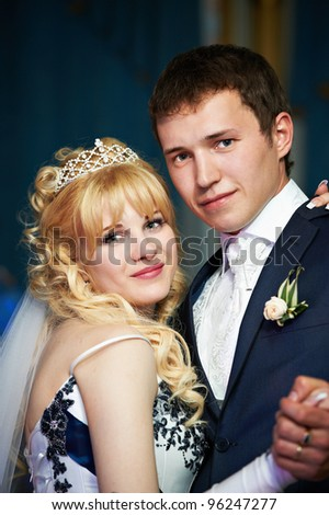 Happy bride and groom closeup - stock photo