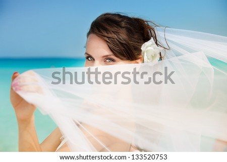 happy bride on a background of ocean - stock photo