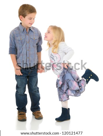 Happy Brother and Sister holding hands - stock photo