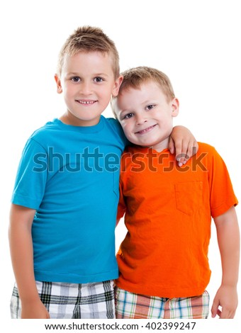 Happy brothers hugging each other - stock photo