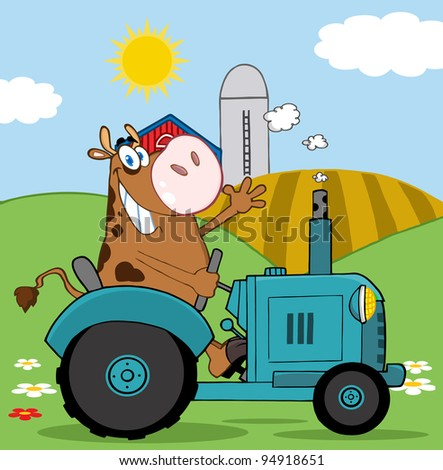 Happy Brown Cow Farmer In Red Tractor Waving A Greeting On His Farm - stock photo