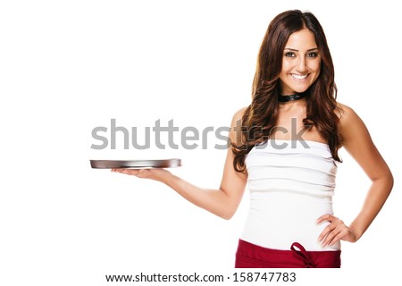happy brunette waitress with a empty tray on white background - stock photo