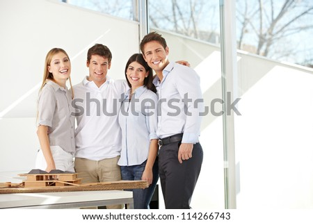 Happy business architects team together in their office - stock photo