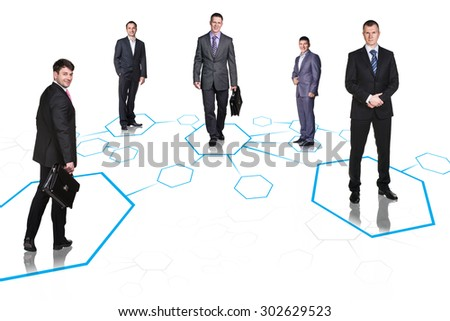 Happy business colleagues stay on shapes isolated - stock photo