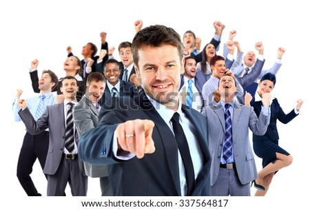 Happy business group.  leader pointing at you - stock photo