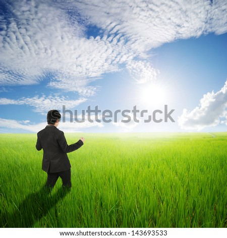 Happy business man in green rice field and clouds sky - stock photo