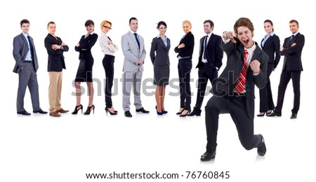 happy business man on an isolated white background with business team - stock photo